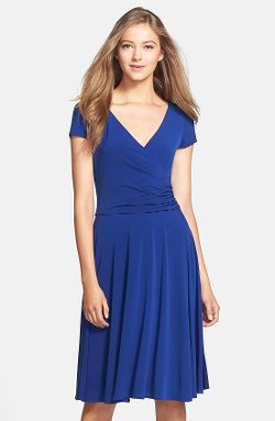 Maggy London  - Cap Sleeve Matte Jersey Faux Wrap Dress