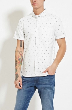 21 Men - Ship Wheel Print Shirt