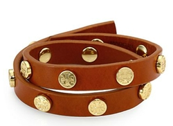 Tory Burch - Logo Stud Leather Double-Wrap Bracelet