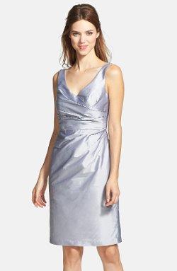 Alfred Sung  - Satin Side Pleat Satin Sheath Dress