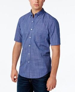 Club Room - Micro-Check Short-Sleeve Shirt