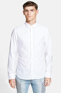 Pierre Balmain  - Trim Fit Quilted Shoulder Oxford Shirt
