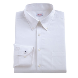 IZOD - Classic-Fit Solid Stretch Poplin Button-Down Collar Dress Shirt