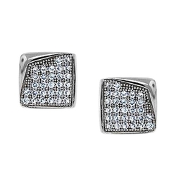 Bling Jewelry - Bent Corner Micro Pave Stud Earrings