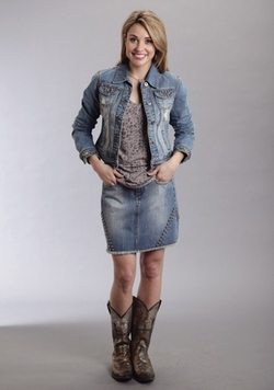 Stetson - Shrunked Denim Studded Western Jacket