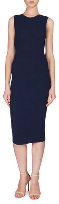 Victoria Beckham - Sleeveless Jewel-Neck Textured Dress