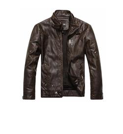 Chouyatou - Vintage Stand Collar Pu Leather Jacket