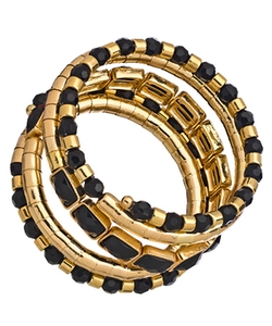 Blu Bijoux - Stacked Egyptian Spiral Wrap Bracelet