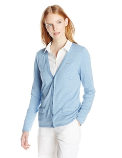 Lacoste  - Long-Sleeve Cotton Double  V-Neck Cardigan