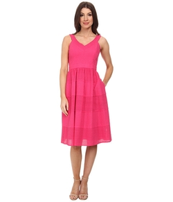 Donna Morgan  - V- Neck Eyelet Dress