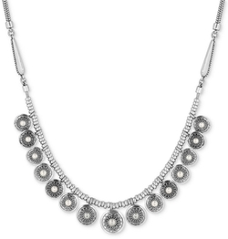 Lucky Brand - Imitation Pearl Multi-Disc Statement Necklace