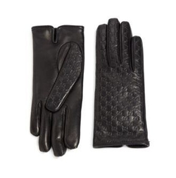 Gucci - Logo-Embossed Leather Gloves