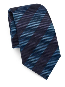 Saks Fifth Avenue Collection  - Striped Silk Cotton Tie