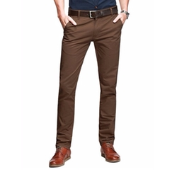 Match  - Mens Slim-Tapered Flat-Front Casual Pants