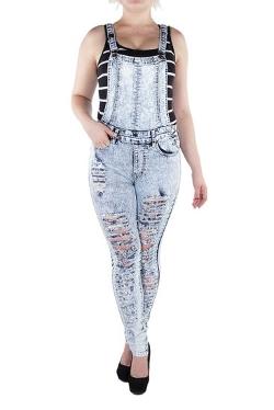 VZBN Jeans - Ripped Denim Skinny Overall