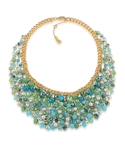 Carolee - Bead And Faux Pearl Bib Necklace