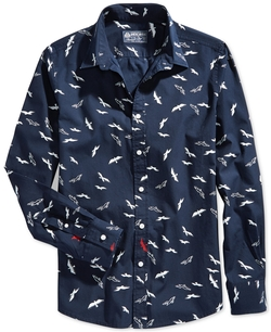 American Rag - Flock-Print Button-Front Shirt