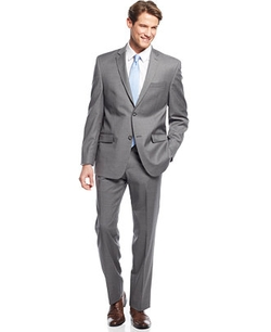 Marc New York By Andrew Marc - Medium Grey Striped Slim-Fit Suit