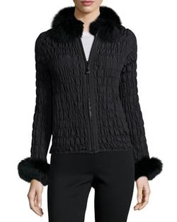 Belle Fare  - Reversible Rabbit Fur/Ruched Jacket