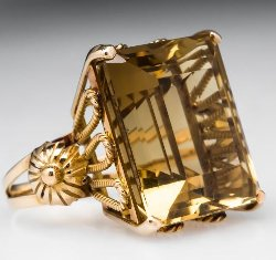 Eragem - Citrine Vintage Cocktail Ring