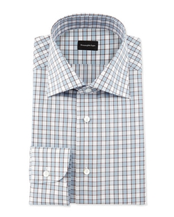 Ermenegildo Zegna - Checkerboard Woven Dress Shirt