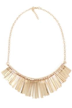 J. Simple - Fringe Tassel Fashion Statement Bib Necklace