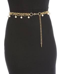 Fashion Focus - Gold Metal Link Pearl Trimmed Belt