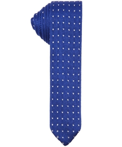 Canali  - Cobalt And Creme Wing Patterned Silk Knit Tie