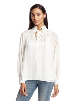 Ark & Co. - Pleat Detail Tie Neck Blouse
