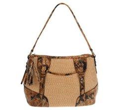 B.Makowsky - SoftStrawZipTop Shoulder Bag
