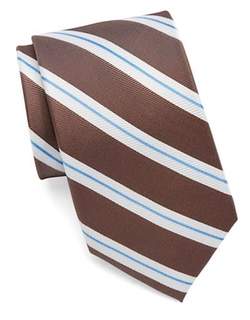 Black Brown 1826  - Silk Striped Tie