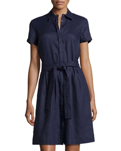 Neiman Marcus - Linen Belted Shirtdress