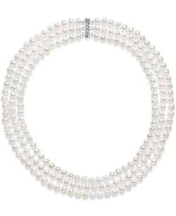 Belle De Mer - Cultured Freshwater Pearl Three Layer Necklace