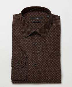 Z Zegna  - Brown Checkered Print Cotton Blend Spread Collar Dress Shirt