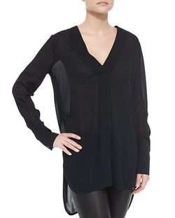 Vince - Long-Sleeve V-Neck Sheer Top