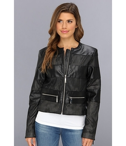 Vince Camuto - Collarless Perforated Stripe Faux Leather Jacket