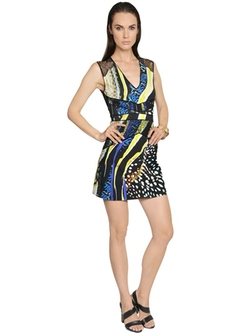 Roberto Cavalli  - Printed Viscose Jersey & Lace Dress