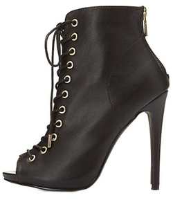 Charlotte Russe - Lace-up Peep Toe Booties