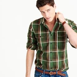Wallace & Barnes  - Heavyweight Flannel Shirt In Gatehouse Green