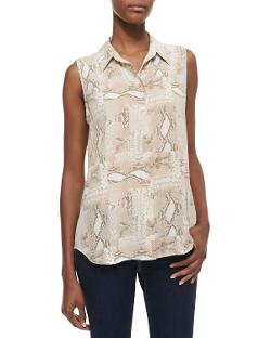Equipment  - Colleen Snake-Print Sleeveless Blouse