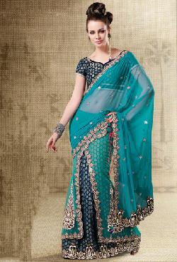 Indian Cloth Store - Blue Net Designer Party Wear Lehenga Saree