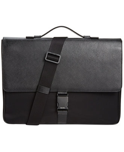 Calvin Klein  - Nylon & Saffiano Leather Briefcase