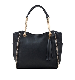 Dasein - Faux Leather Chain Link Tote Bag