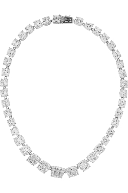 Kenneth Jay Lane - Rhodium-Plated Cubic Zirconia Necklace