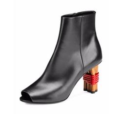 Balenciaga  - Wooden-Heel Open-Toe Booties