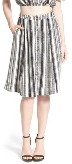 Astr - Stripe Button Front A-Line Skirt