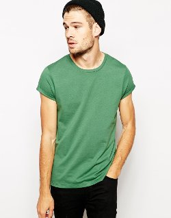 ASOS - Crew Neck And Rolled Sleeve Tee Shirt