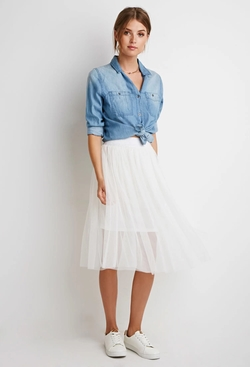 Forever 21 - Contemporary Metallic-Waist Tulle Skirt