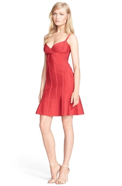 Herve Leger - V-Neck Flared Skirt Bandage Dress