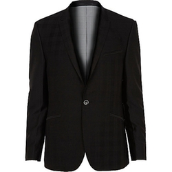 River Island - Black Vito Plaid Blazer